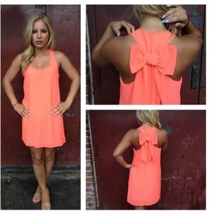 Bright coral summer shift dress with bow size S